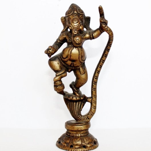 bronze figurine - ganesha on serpent