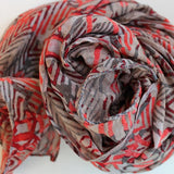 gray and coral pink chiffon scarf