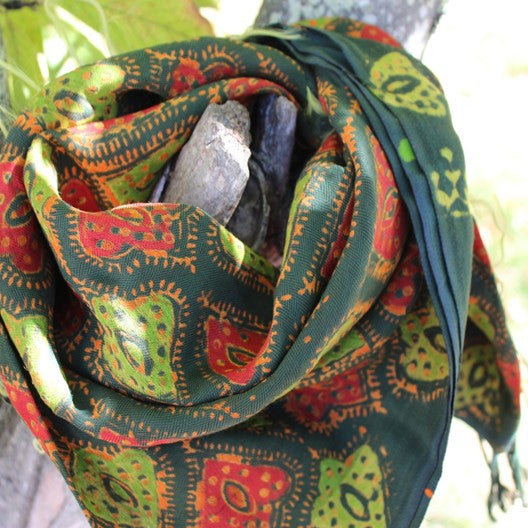 green and orange winter scarf