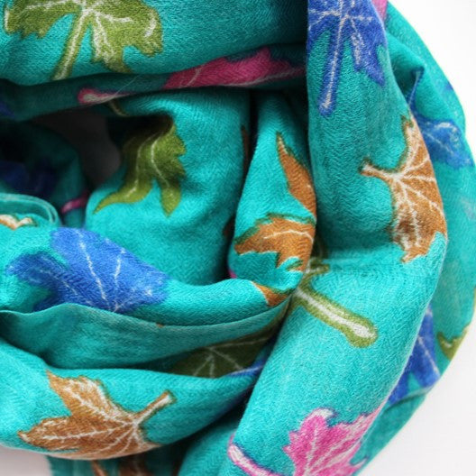 soft wool scarf - green with maple leaves
