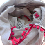 grey cotton scarf rani pink pom poms