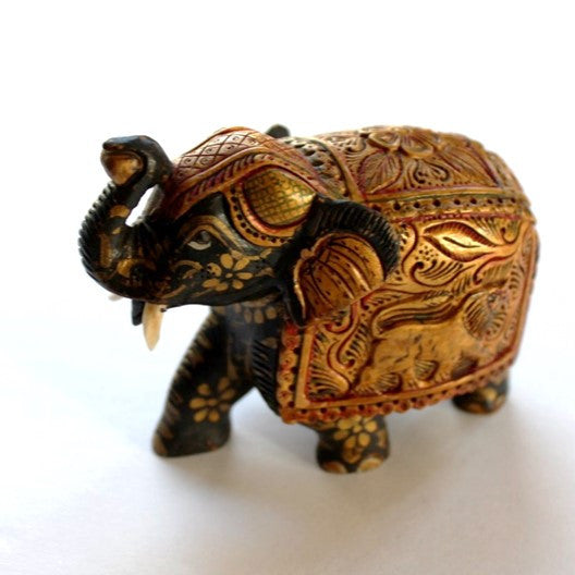 hand painted  and handcarved wood elephant figurine