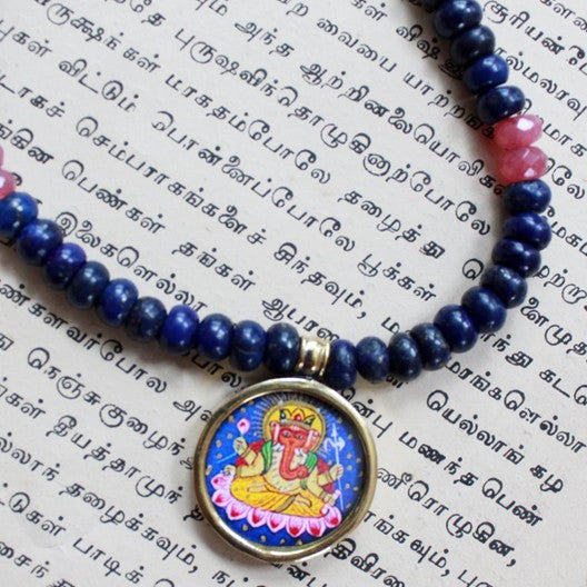 blue gemstone necklace hand painted ganesha pendant
