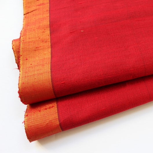 raw silk scarf - evening wrap red