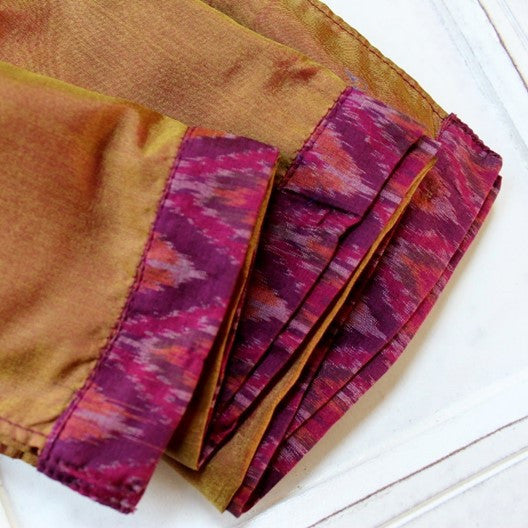 two tone silk scarf - gold and pink