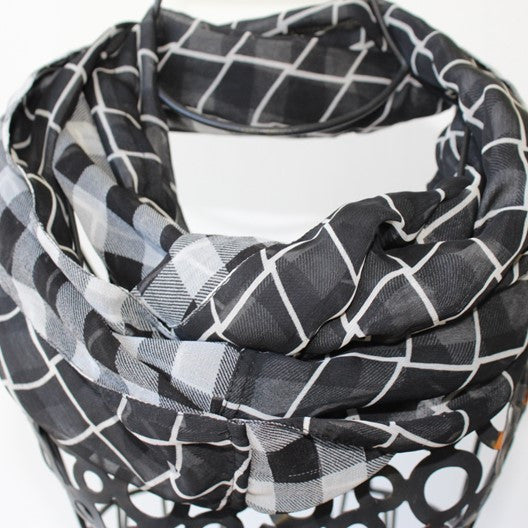 chiffon infinity scarf - black and white double sided