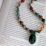 gemstone necklace with jade ganesha pendant