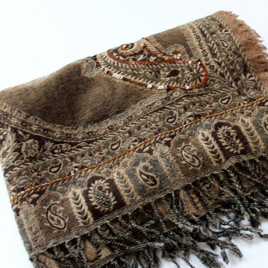 jamawar weave wool scarf - tan and grey with sequins