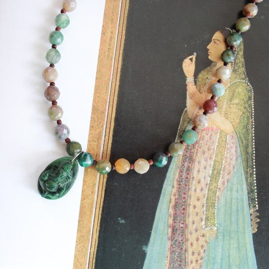jasper gemstone necklace jade ganesha