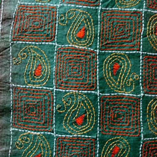 tussar silk scarf - green and brown kantha