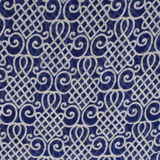 blue and white kolam chiffon scarf