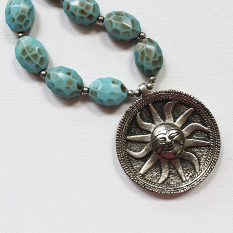 large sun pendant necklace
