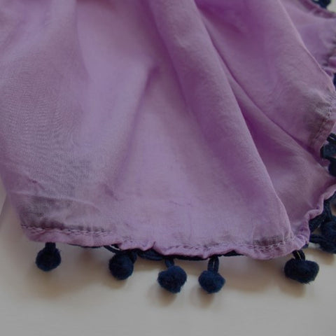 lilac cotton scarf with pom poms