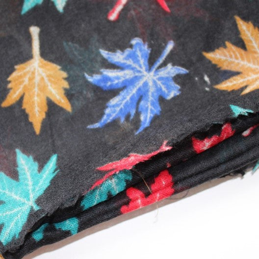 black wool scarf with maple leaves