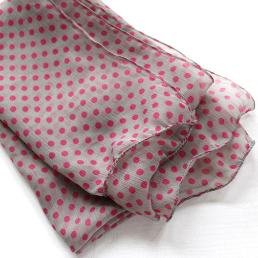 gray chiffon scarf with pink polka dots