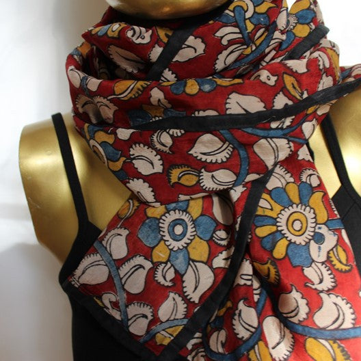 kalamkari scarf - colored trim