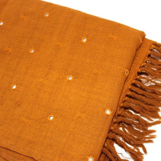 merino wool scarf -  honey gold with mirrors