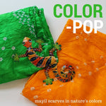 orange and green scarves