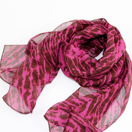 pink and brown chiffon scarves
