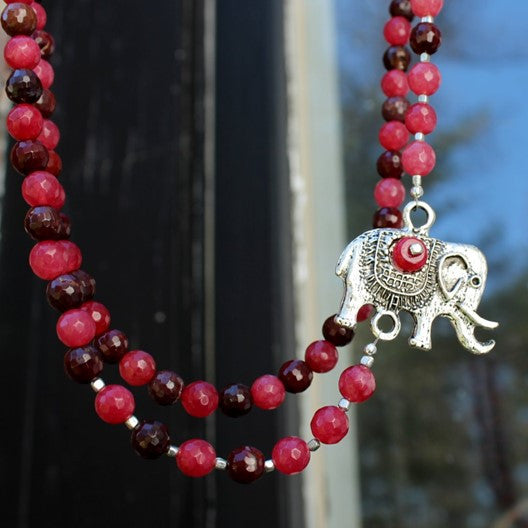 pink and brown agate elephant pendant necklace - long
