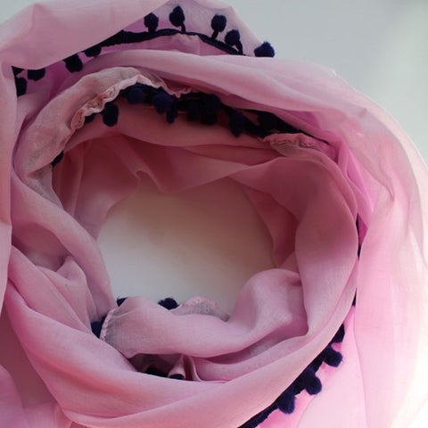 pink cotton scarf with pompoms