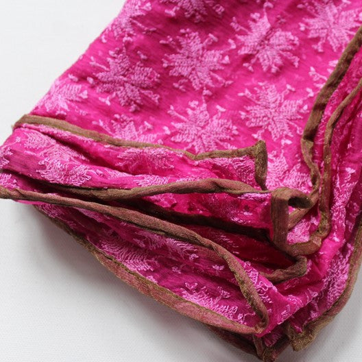 pink scarf with embroidery