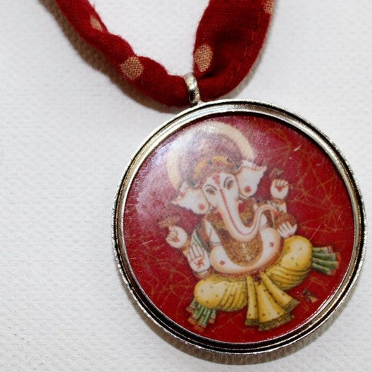 red Ganesha silver pendant
