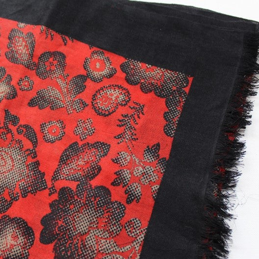 red and black soft wool scarf