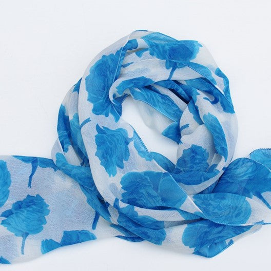 white chiffon scarf with blue roses
