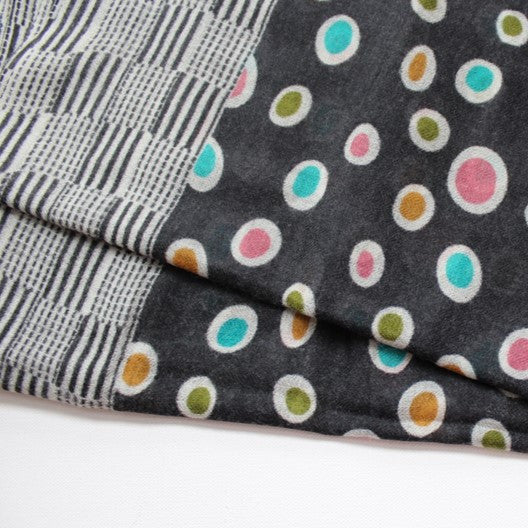 soft wool scarf - black with circles
