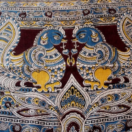 Kalamkari scarf - blue peacocks