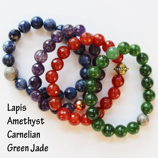 set of 4 gemstone bracelets