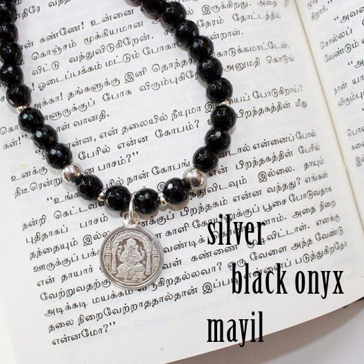 black onyx necklace silver ganesha