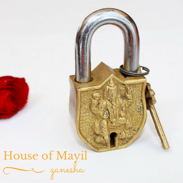 temple padlock with ganesha engraving
