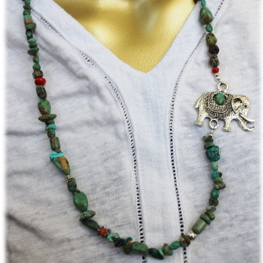 turquoise necklace with elephant