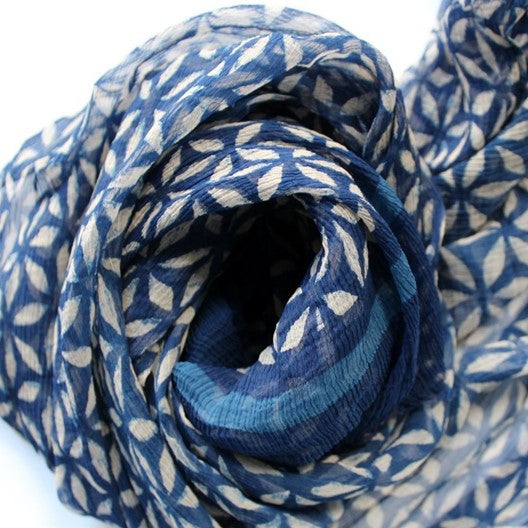 indigo blue chiffon scarf - long