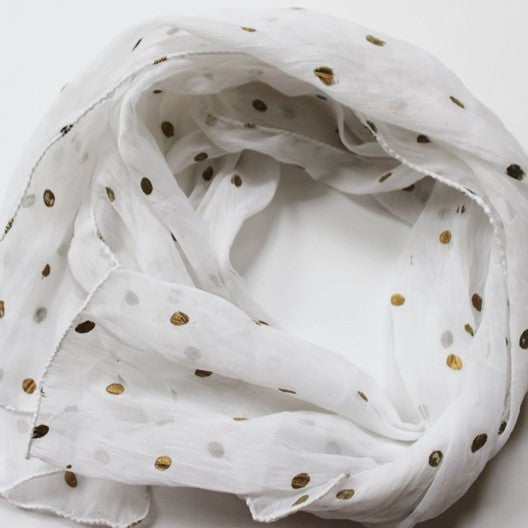 white scarf with gold dots