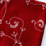 merino wool scarf -  burgundy with embroidery