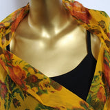 yellow chiffon scarf with roses