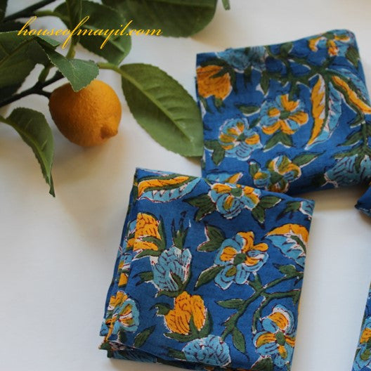 block print dinner napkins - blue and yellow