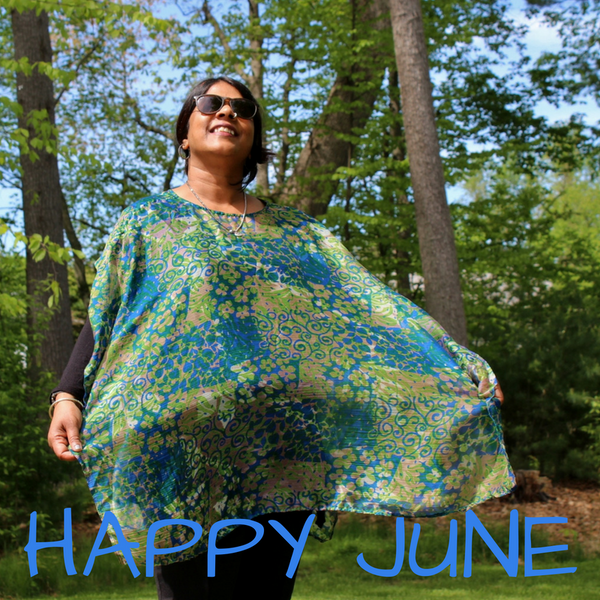 chiffon poncho - blue and green - swirls and flowers