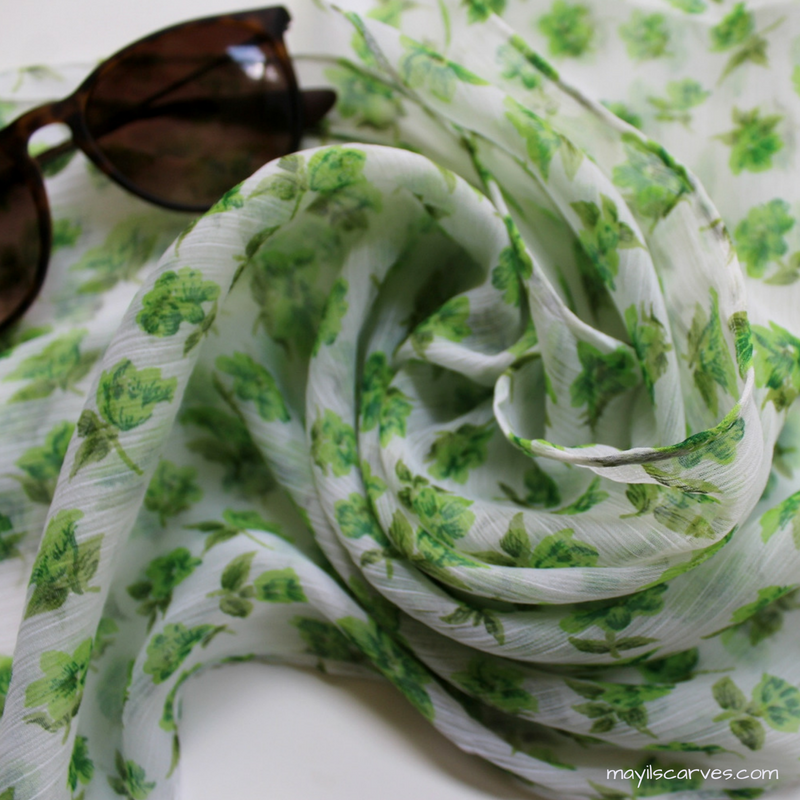 spring green and white scarves