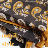 black and mustard kalamkari scarf with peacocks
