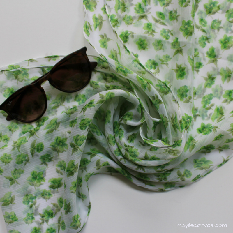 White chiffon scarf with green flowers