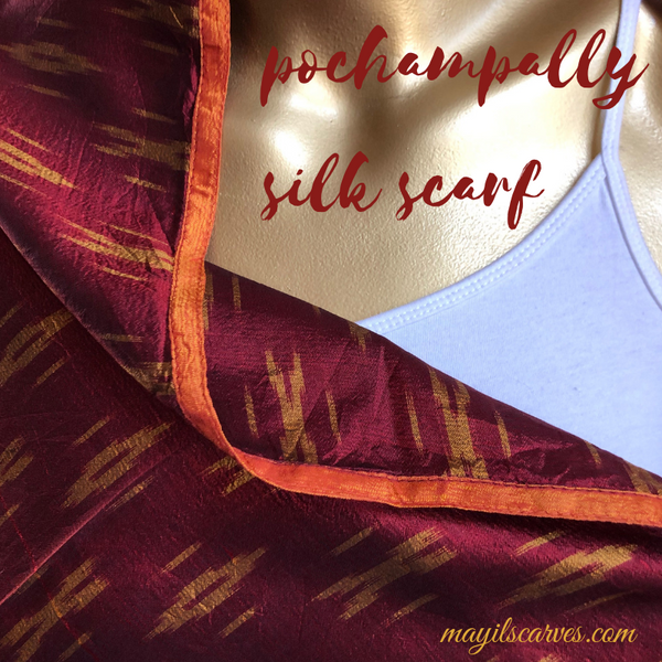 pochampally recycled silk scarf - maroon red