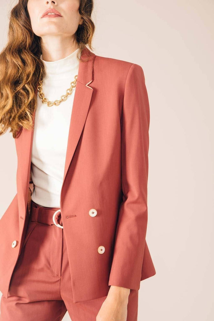 Veste tailleur Boston Rose Brique - Tina