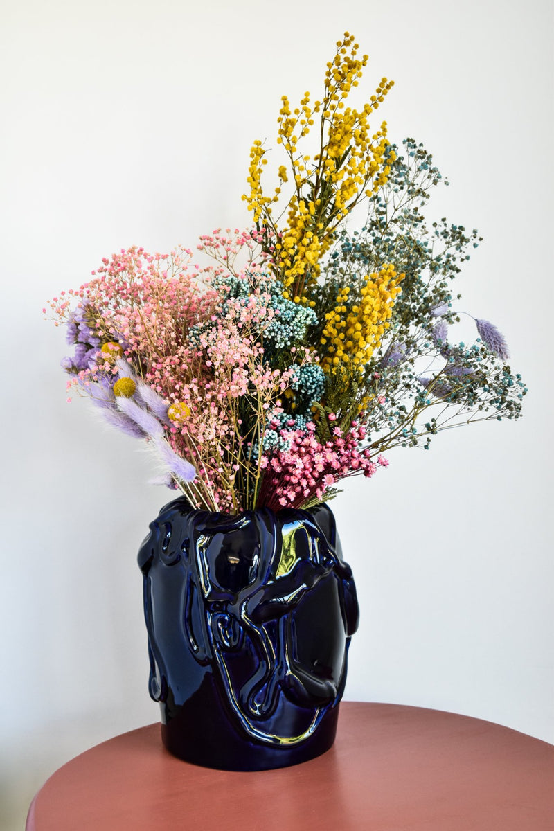 Raawii Kvium Vase - Deep Cobalt Dried Flowers - Appreciation Project