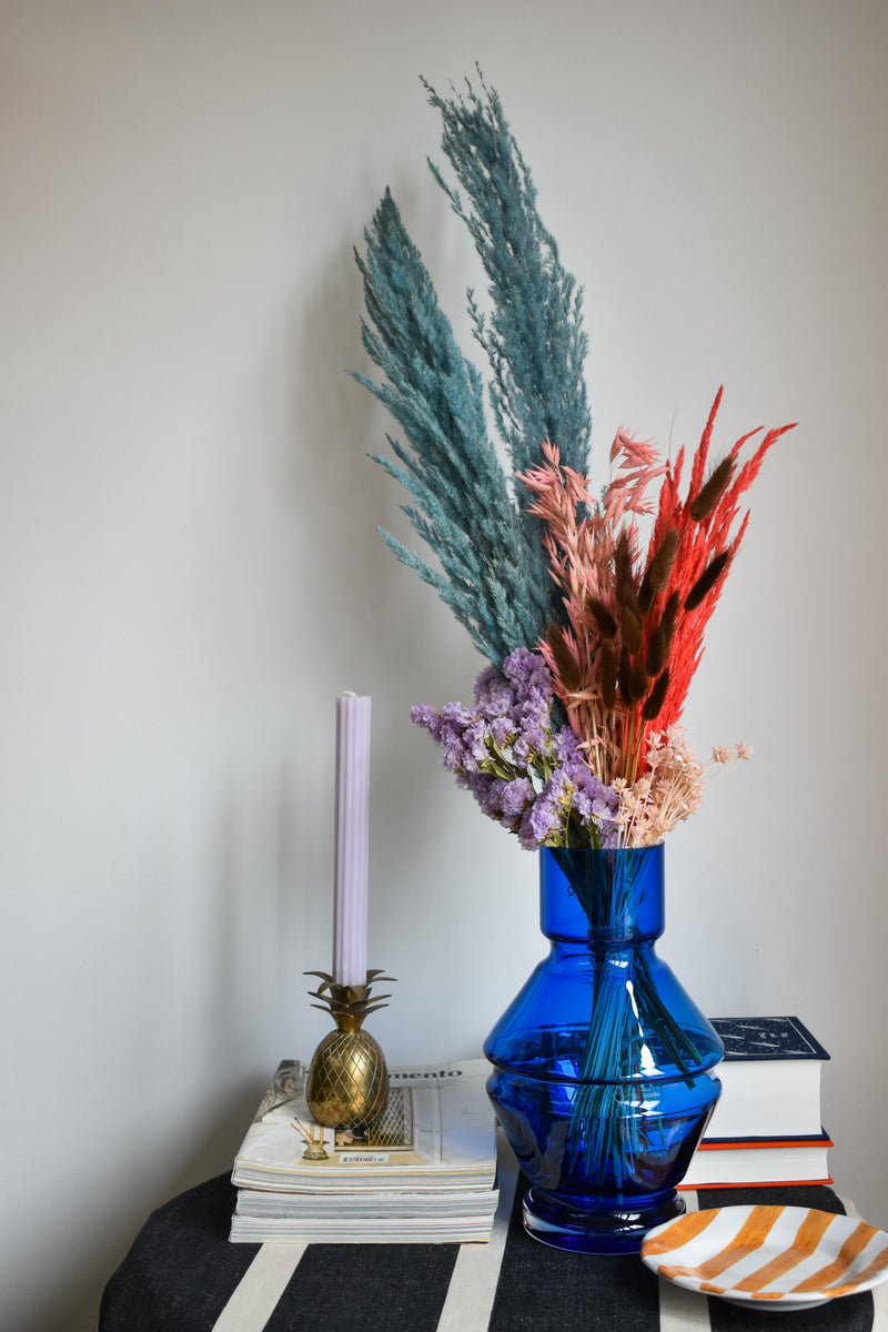 Raawii Relæ Vase (Large) - Aquamarine Blue Dried Flowers - Appreciation Project