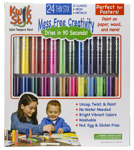 Thin Stix-24pk, Classic, Metalix And Neon Paint