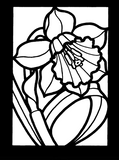 Little Tropical Flowers Stained Glass Coloring Book